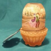 1996 Fenton Glass - Outdoor Winter Ice Skaters - Hand Painted, Signed, Ltd Ed.
