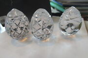 Waterford Crystal Egg Collectibles Set Of 3 2.5 Mixed Pattern Eggs New 1050389