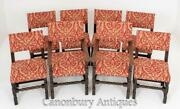 Set 8 Oak Farmhouse Dining Chairs - Kitchen Diner
