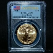 2014 50 Gold American Eagle ✪ Pcgs Ms-70 ✪ 1 Oz First Strike Label ◢trusted◣