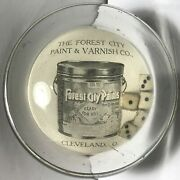 Vtg 1903 Forest City Paint And Varnish Cleveland Ohio Dice Game Glass Paperweight