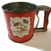 Androck Flour Sifter Hand-i-sift Red Floral Design 3 Screens Made In Usa Vintage