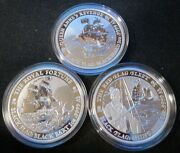 All 3 Tuvalu Black Flag Series 1 Oz Silver Rounds Coins 15000 Mintage Sold Out