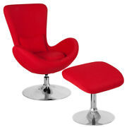 Contemporary Retro Style Red Fabric Egg Swivel Reception Chair With Ottoman