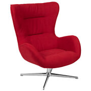 Retro Style Red Fabric Swivel Wing Back Accent Chair With Aluminum Base