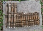 Antique Colonial Balusters Stair Railing Turned Walnut Wood Spindles