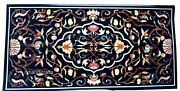 Black Marble Dining Table Top Hand Crafted Stone Inlaid Office Conference Table
