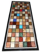 Black Marble Hallway Table Top Inlay Dining Table Top With Multi Color Stones