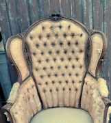 Antique French Rococo Carved Walnut Mahogany Victorian Wing Back Chair