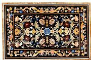 Black Marble Dining Table Top Antique Work Conference Table With Multi Stones