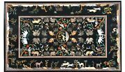 Animals Pattern Inlay Hallway Table Top Rectangle Marble Dining Table Home Decor