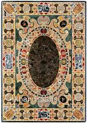 Black Marble Lawn Table Top Shiny Gemstones Inlaid Rectangle Dining Table Top
