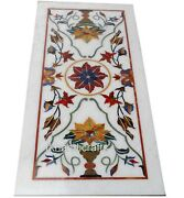 Conference Table Top Inlay With Floral Pattern White Marble Patio Dining Table