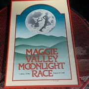 Rare 1986 Maggie Valleync Moonlight Race Lithograph Poster Signed Framed