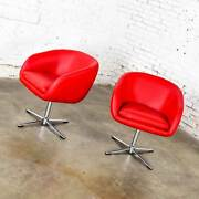 Shelby Williams Mcm Swivel Bucket Chairs Red Vinyl Faux Leather And Chrome X Base