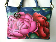 Anuschka Moonlit Peonies Hand Painted Leather Multi Compartment Tote Purse - Nwt