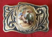 Beautiful Vintage Rare Lot- 3 Western/stone Brass Belt Buckles Great Condition