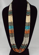 Traditional 10-strand Multi-color Stone And Shell Heishi Necklace