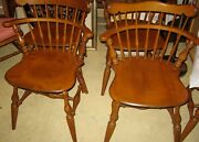 Vintage Ethan Allen 6 Maple Nutmeg Comb Back Dining Chairs Great Original Cond.