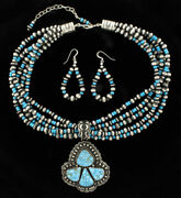 Navajo Natural Birdseye Kingman Turquoise Necklace And Matching Earrings