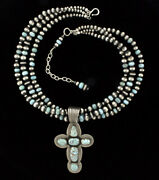Natural Dry Creek Turquoise Cross Necklace By Navajo Artist Albert Jake