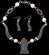 High Grade Natural Kingman Turquoise Necklace And Matching Earrings By Jack Tom