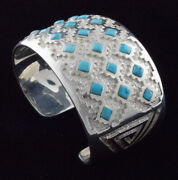 3-row Natural Sleeping Beauty Turquoise Diamond Inlay Bracelet By Michael Perry