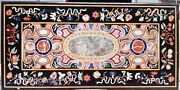 Antique Work Marble Dining Table Top Handcrafted Garden Table With Mosaic Art