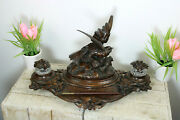 Xl Top Antique 19thc German Black Forest Inkwell Birds Fight With Pen Rare