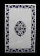 White Living Room Table Top Inlay Marble Dining Table With Lapis Lazuli Stone
