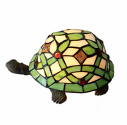 Little Green Turtle Mica Style Table Lamp Stained Glass Night Light For Home