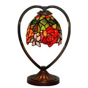 14in Heart Rose Mica Glass Style Table Lamp Stained Glass Night Light For Home