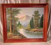 Vintage Pine Framed Painting 23 3/4 X 27 3/4 Canvas 20x24 Molding 2 1/2
