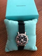And Co Black Atlas Chronograph Watch Steel Alligator Strap Swiss-made New