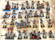 Atlantic Custer And Other Sets - Painted Csa Army - 34 60mm Scale Toy Soldiers