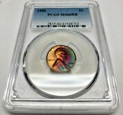 1956 Lincoln Wheat Penny Pcgs Ms66 Rb Rainbow Tone Registry Coin