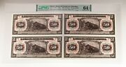 1913 Uncut Sheet Of Four Mexico 50 Pesos Notes Graded By Pmg As Choice Unc 64