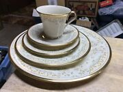 Lenox Meadow Song Usa Dinnerware Pieces Plates Cups Saucers 5 Pieces Gold Trim