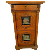 Antique Double Cabinet Hand Crafted Carved Locking Doors Lighted Liquor Storage