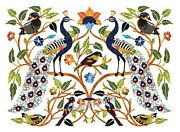 Birds Design Inlay Marble Coffee Table Top Hand Crafted Elegant Wall Scenery