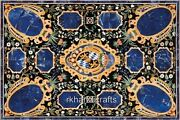Amazing Blue Stone Work Coffee Table Top Marble Reception Table Marquetry Art