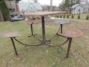Farm Table Repurposed Workbench Top 4 Tracker Seat Chairs Hay Trolley Frame 77 W
