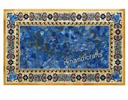Lapis Lazuli Stone Random Art Dining Table Yellow Marble Royal Meeting Table Top