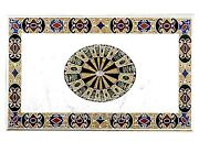 White Marble Dining Table Top Stone Hotel And Bar Table With Inlay Art At Border