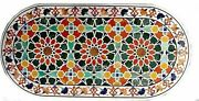 Marble Dining Table Top Inlay Work Coffee Table With Multi Color Stones For Home
