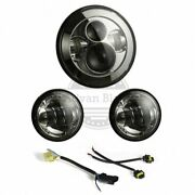 Advanblack Chrome 7inch Led Headlight Auxiliary Passing Lamps For Harley Touring