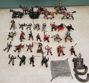 Schleich Simba Papo Knights Horses Kings Archers Weapons Shields 34 Figure Lot