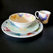 1998 And Co Blue Rooster 4 Pc Place Setting Plates Bowl Mug