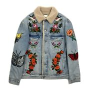 Embroidered Shearling Oversized Denim Jacket Size 50 Fits Xl Rrp Andpound4000