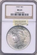 1923 Silver 1 Peace Dollar Ngc Ms65 Brilliant